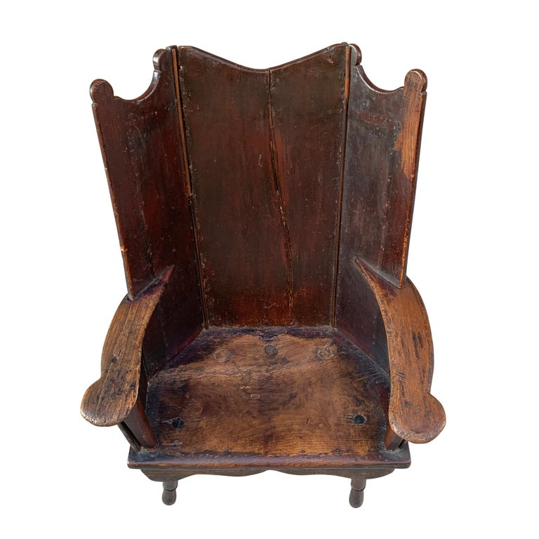 Primitive 18th Century English Wingback Chair For Sale