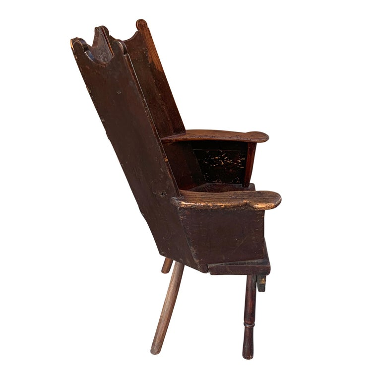 Oak 18th Century English Wingback Chair For Sale