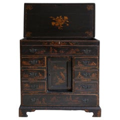 18th Century English Wood Chest with Chinoiserie and Floral Motifs