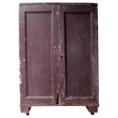 18th Century Estate Made Plum Painted Pine Cupboard, circa 1780