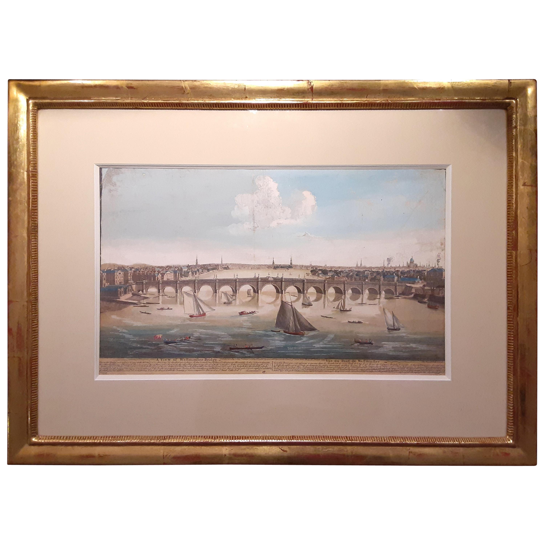 18th Century Etching of Westminster Bridge, London