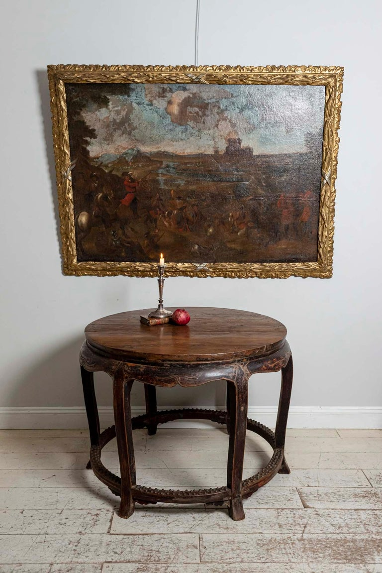 18th Century European Oil Painting of a Battle Scene with a Carved Gilt Frame For Sale 5