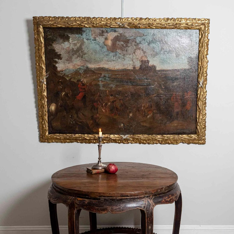 18th Century European Oil Painting of a Battle Scene with a Carved Gilt Frame For Sale 7