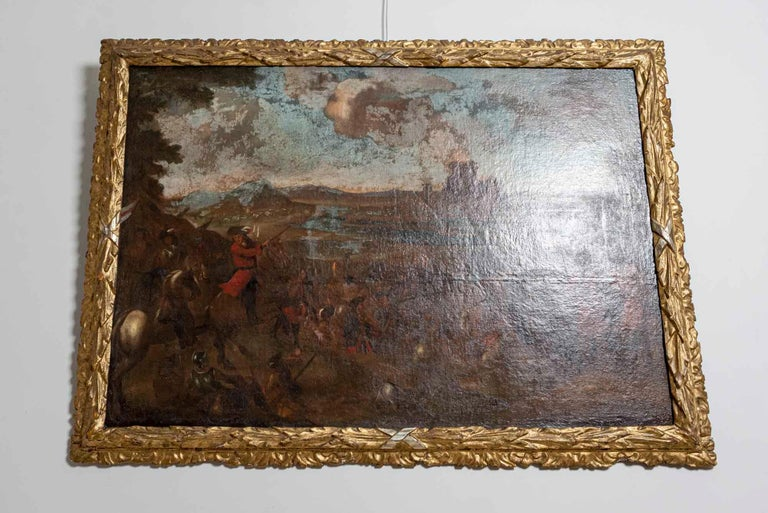 Austrian 18th Century European Oil Painting of a Battle Scene with a Carved Gilt Frame For Sale