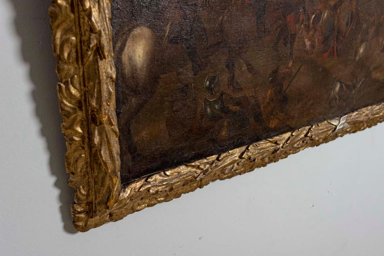 18th Century European Oil Painting of a Battle Scene with a Carved Gilt Frame For Sale 1