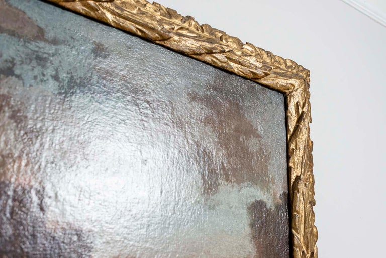 18th Century European Oil Painting of a Battle Scene with a Carved Gilt Frame For Sale 2
