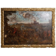 18th Century European Oil Painting of a Battle Scene with a Carved Gilt Frame