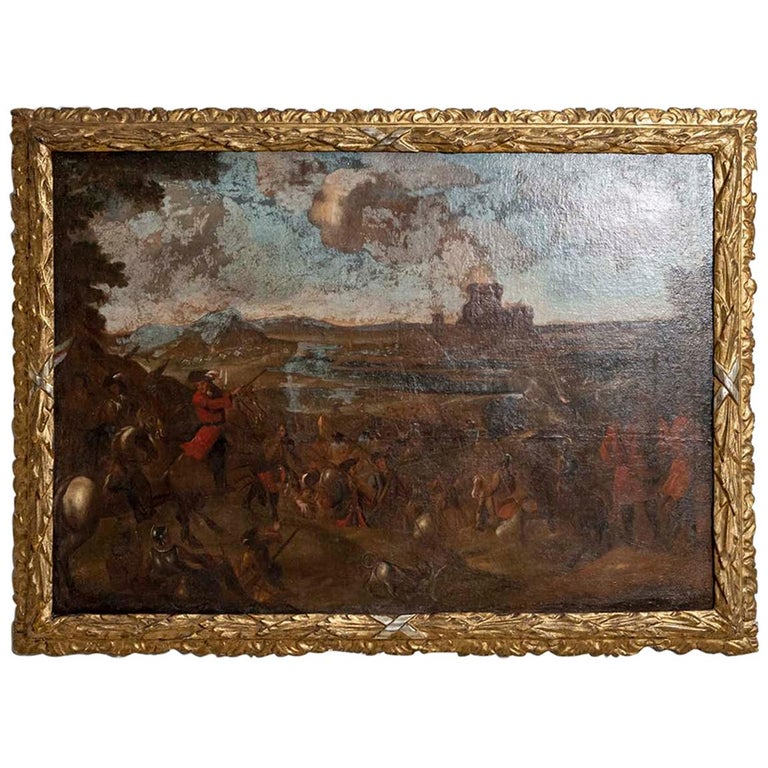 18th Century European Oil Painting of a Battle Scene with a Carved Gilt Frame For Sale