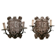 18th Century European Pair of Wood Crest Two-Arm Sconce Wall Lamps