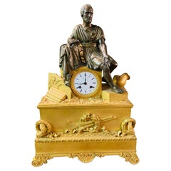18th Century Exquisite French Roman Figural Table Clock