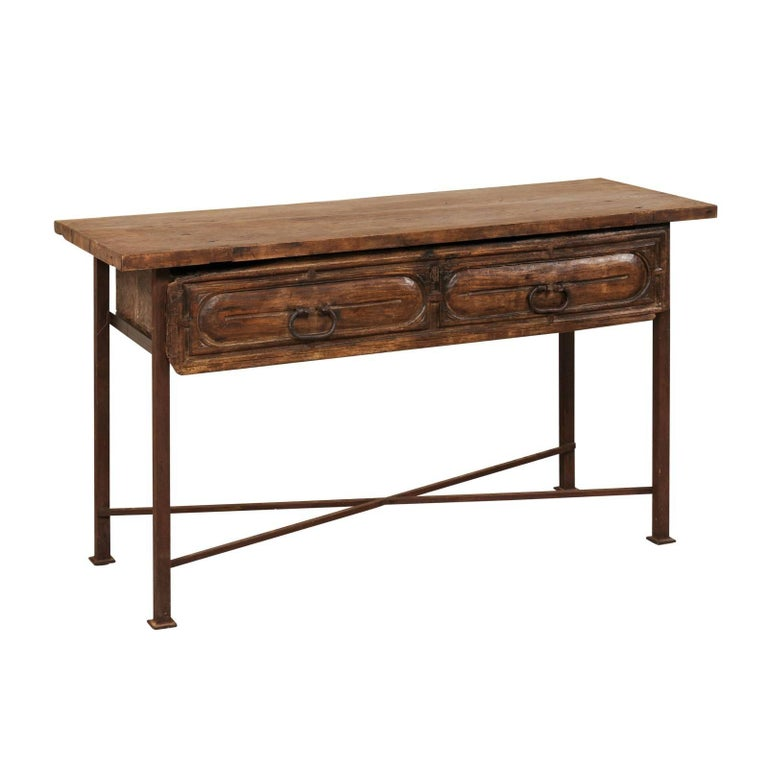 18th Century Exquisite Spanish Wood and Iron Console Table with Large Drawer