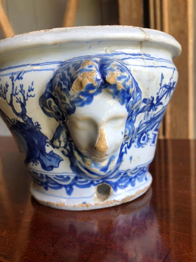 French 18th Century Faience Cachepot from Nevers For Sale