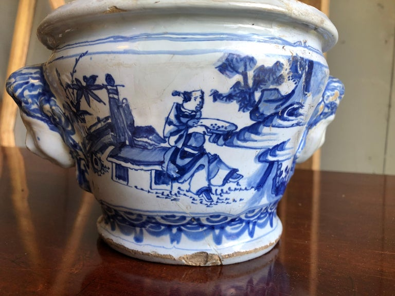18th Century Faience Cachepot from Nevers In Fair Condition For Sale In Doylestown, PA