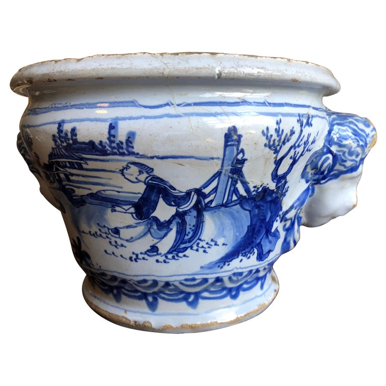 18th Century Faience Cachepot from Nevers For Sale