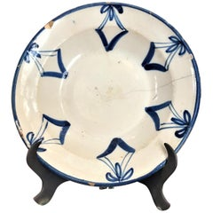 18th Century Faience Plate Bowl Toledo on a Stand Decorative Antique Object LA