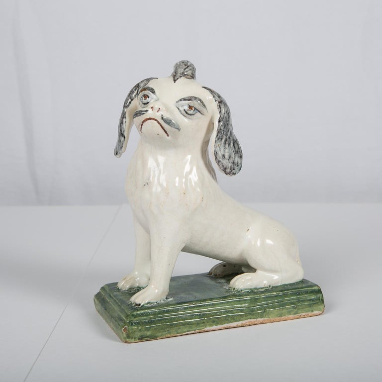 18th Century Faience Puppy Made in Brussels circa 1760 For Sale 4
