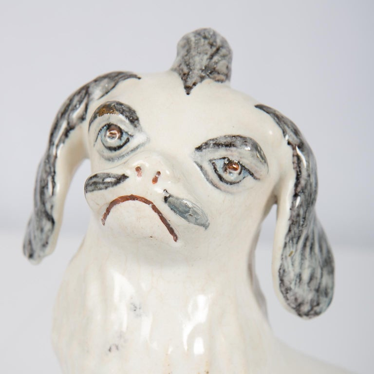 Rococo 18th Century Faience Puppy Made in Brussels circa 1760 For Sale