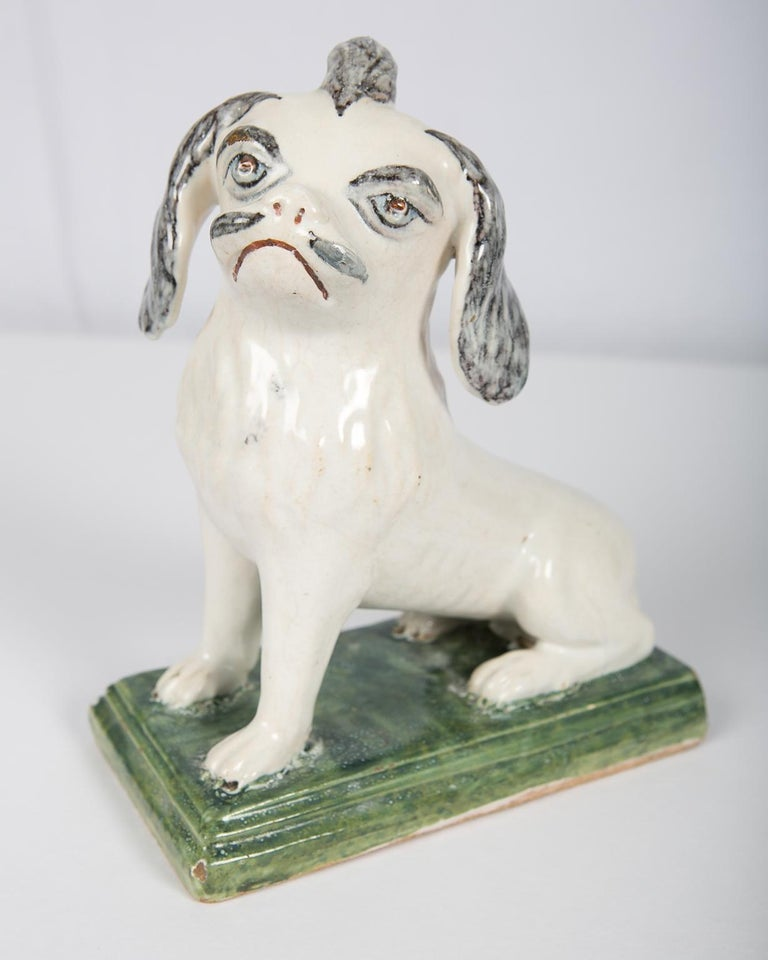 Belgian 18th Century Faience Puppy Made in Brussels circa 1760 For Sale