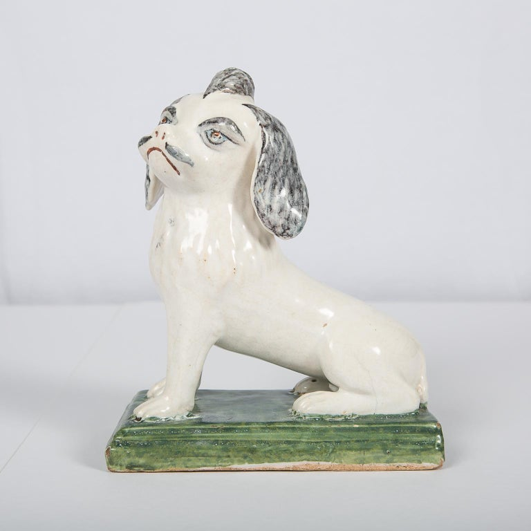 18th Century Faience Puppy Made in Brussels circa 1760 For Sale 1