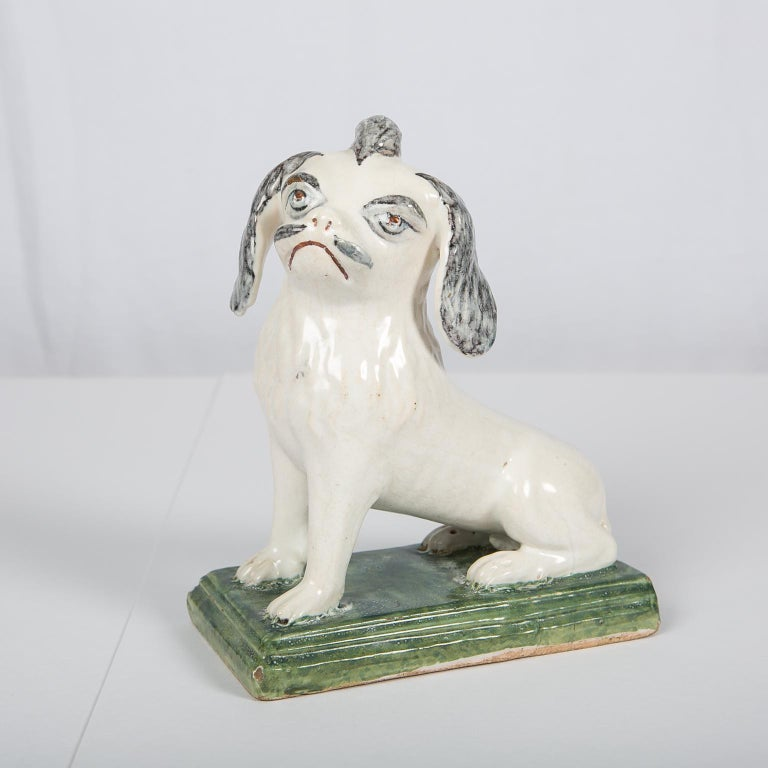 18th Century Faience Puppy Made in Brussels circa 1760 For Sale 3