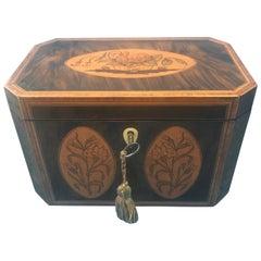 18th Century Figured Harewood Inlaid Twin Section Tea Caddy