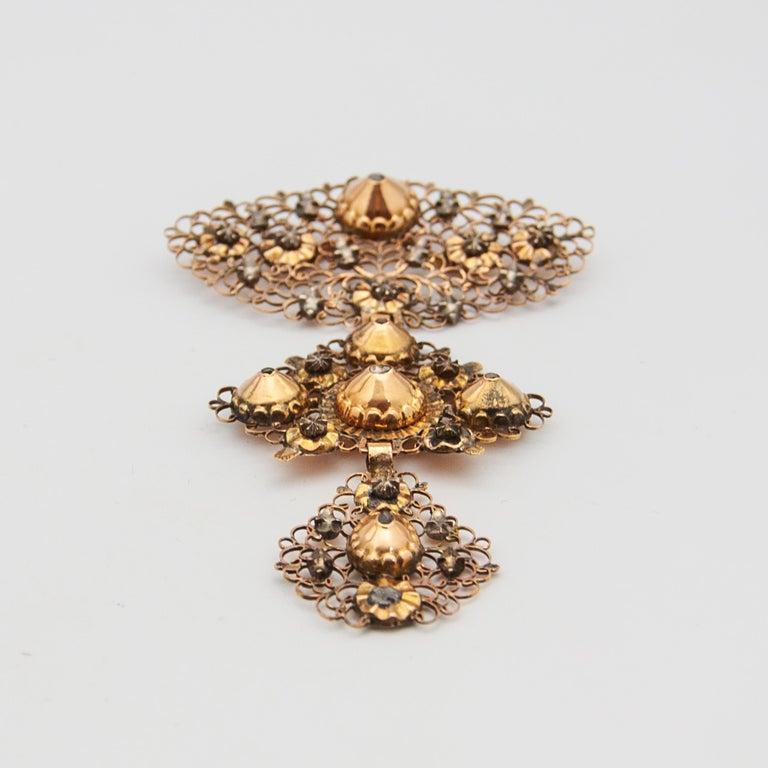 18th Century Filigree Gold Silver Diamond Cross Pendant In Good Condition For Sale In Rotterdam, NL
