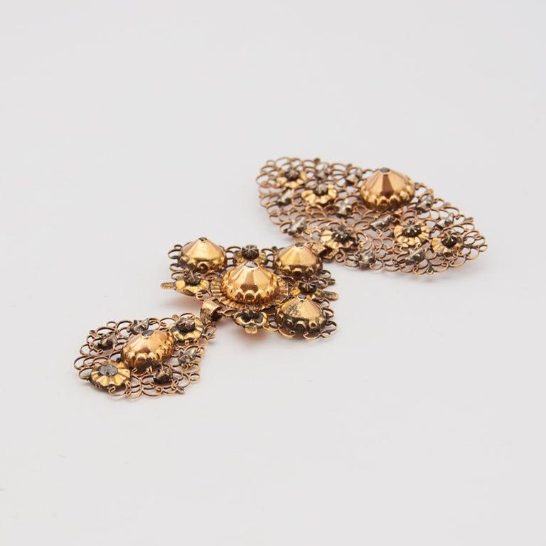 Women's or Men's 18th Century Filigree Gold Silver Diamond Cross Pendant For Sale