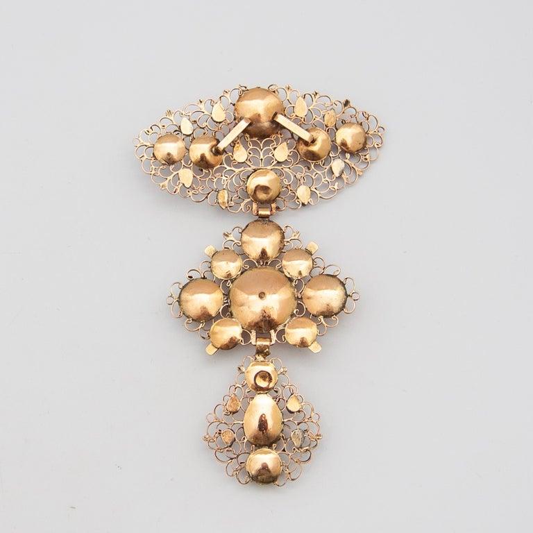 18th Century Filigree Gold Silver Diamond Cross Pendant For Sale 1
