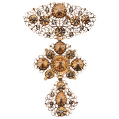 18th Century Filigree Gold Silver Diamond Cross Pendant