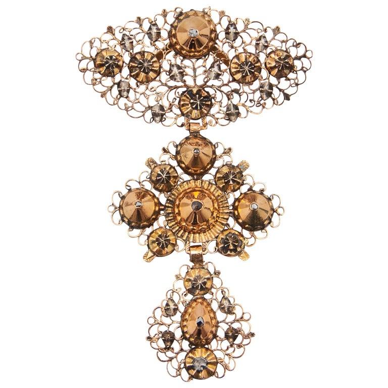 18th Century Filigree Gold Silver Diamond Cross Pendant For Sale