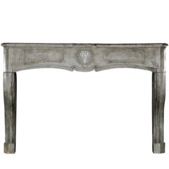 18th Century Fine European Grey Marble Stone Antique Fireplace Mantle