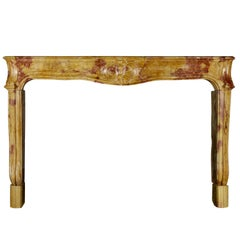 18th Century Fine French Bicolor Marble Hard Stone Antique Fireplace Mantle