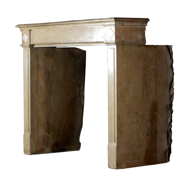 This beautiful fireplace surround has straight legs and a straight front. It reflects the hand of the carver and the light in the room. A Classic element for a timely fine European style interior design. Measures: 124 cm EW 48,82