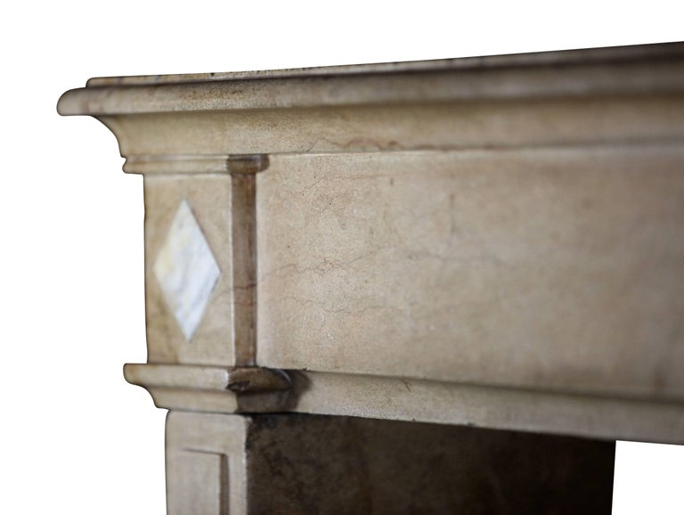 Carved 18th Century Fine French Classic Antique Fireplace Stone and Marble Surround For Sale