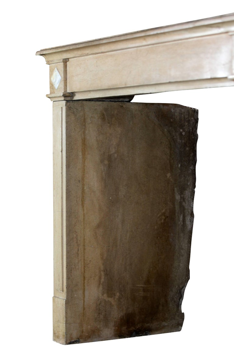 18th Century Fine French Classic Antique Fireplace Stone and Marble Surround For Sale 3