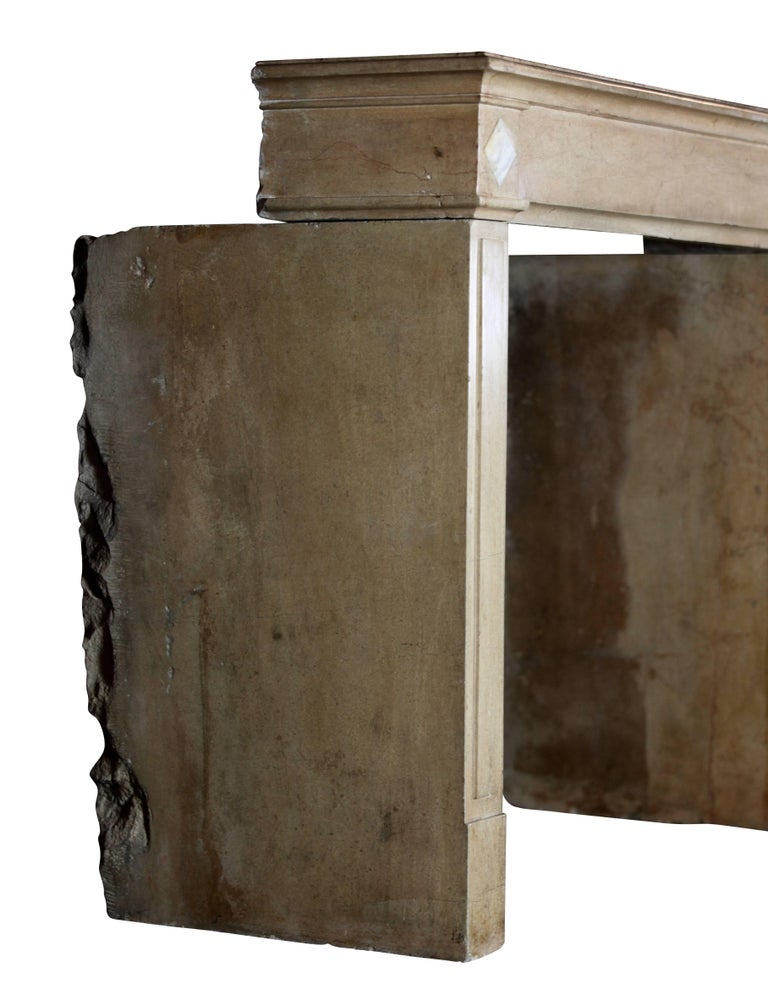 18th Century Fine French Classic Antique Fireplace Stone and Marble Surround For Sale 4