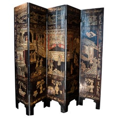 18th Century Five-Panel Chinese Coromandel Screel