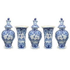 18th Century Five-Piece Delft Blue and White Porcelain Garniture, All Marked