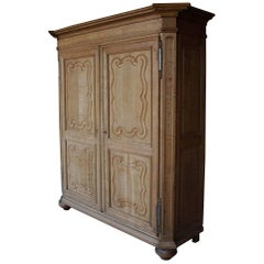 18th Century Flemish Louis XIV Two-Door Cleaned Oak Cabinet
