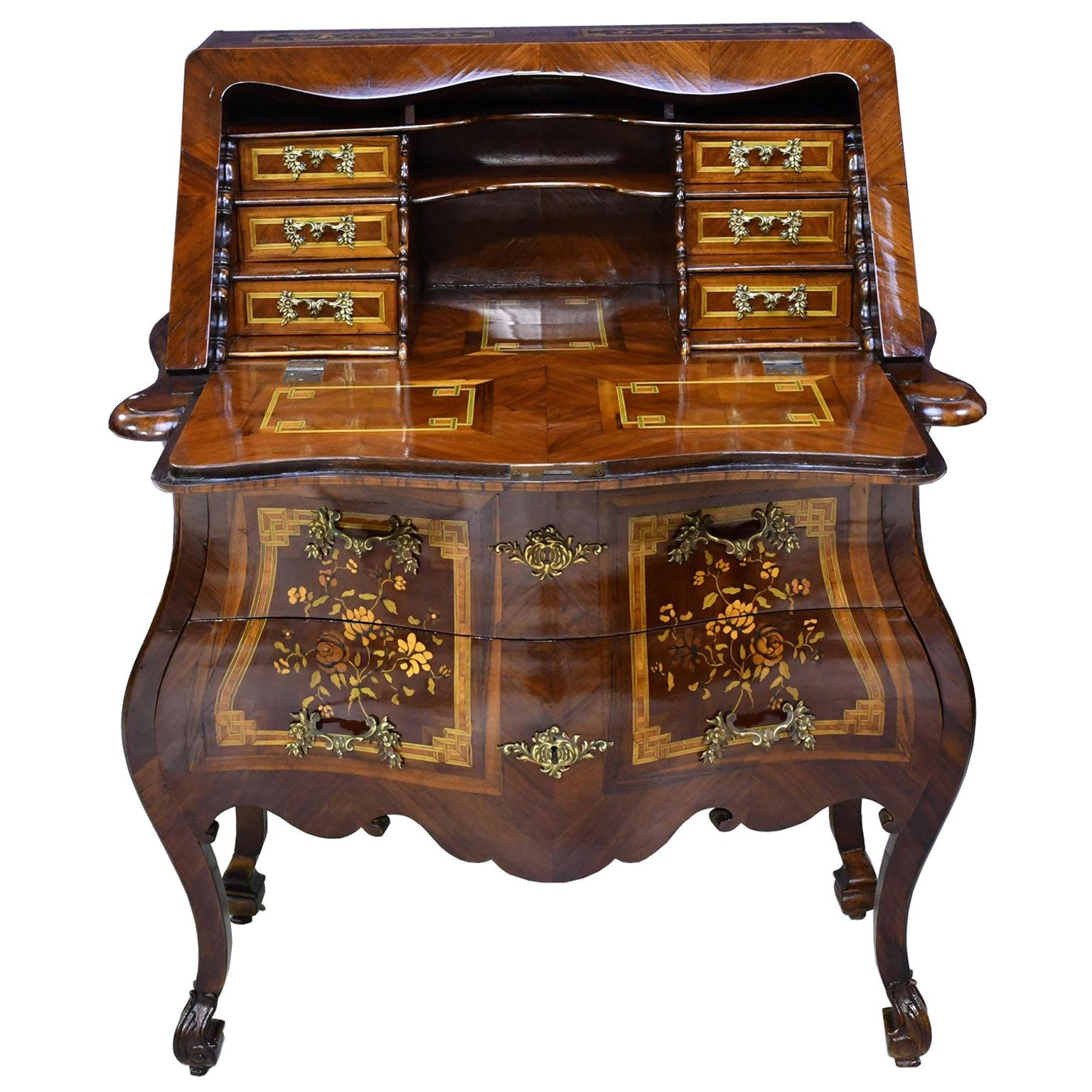 18th Century Flemish or German Rococo Bombe Secretary Desk with Marquetry