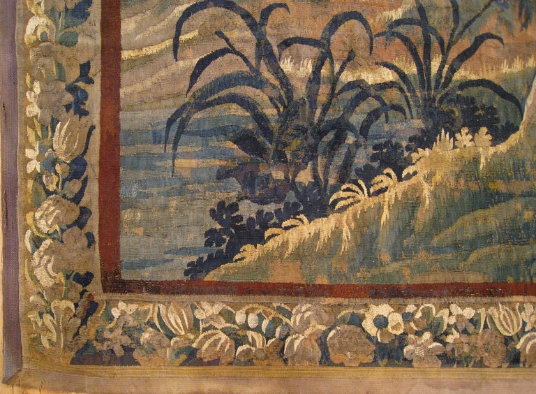 European 18th Century Flemish Verdure Tapestry, with a Bird in a Woodland Setting For Sale