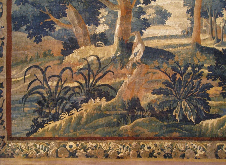 Hand-Woven 18th Century Flemish Verdure Tapestry, with a Bird in a Woodland Setting For Sale