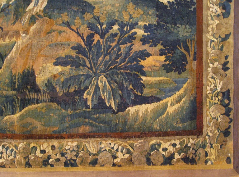 18th Century Flemish Verdure Tapestry, with a Bird in a Woodland Setting In Good Condition For Sale In New York, NY