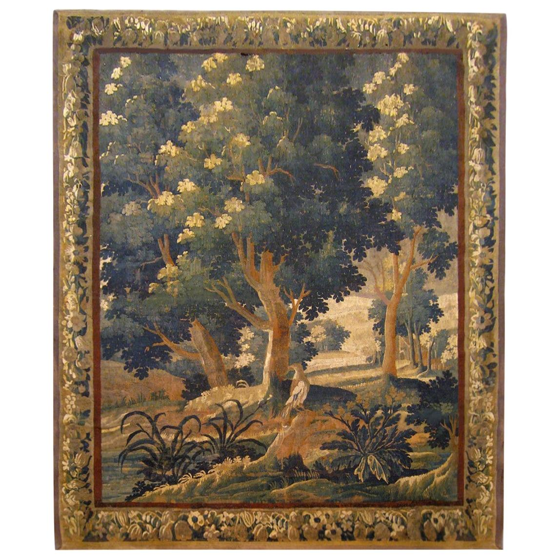 18th Century Flemish Verdure Tapestry, with a Bird in a Woodland Setting