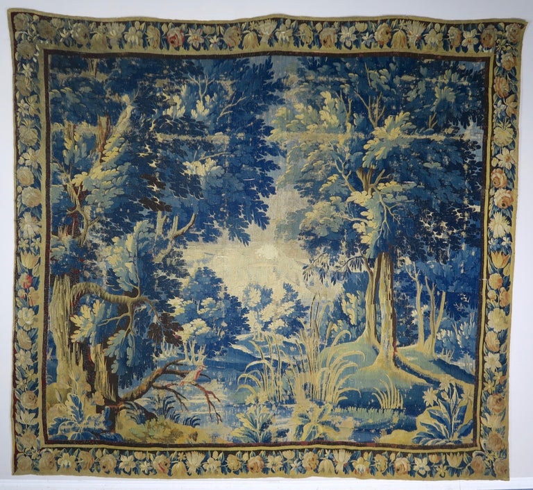 18th Century Flemish Verdure Tapestry with Border For Sale 9