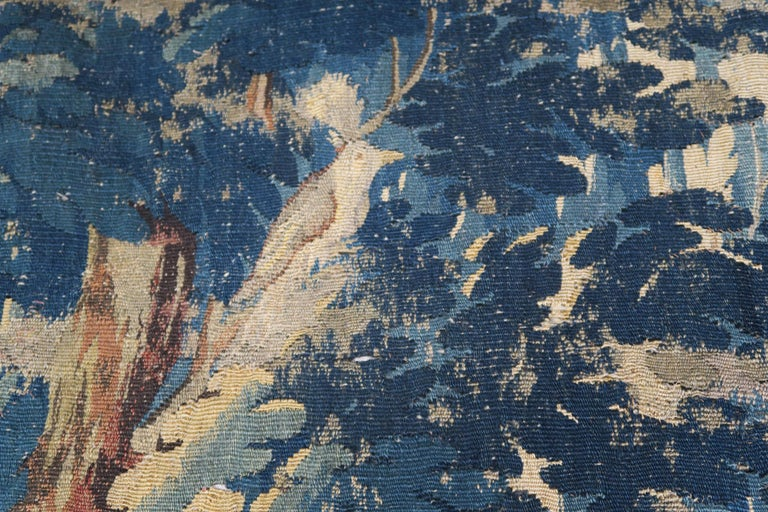18th Century Flemish Verdure Tapestry with Border In Distressed Condition For Sale In Los Angeles, CA