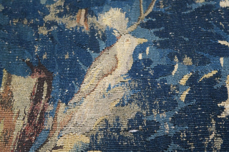 18th Century and Earlier 18th Century Flemish Verdure Tapestry with Border For Sale