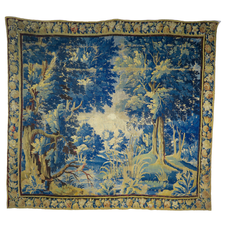 18th Century Flemish Verdure Tapestry with Border