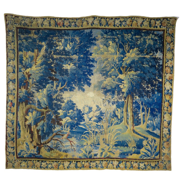 18th Century Flemish Verdure Tapestry with Border For Sale