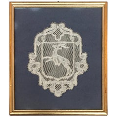 18th Century Flemish'Point d'Angleterre', Lace Reindeer Armorial Crest Panel